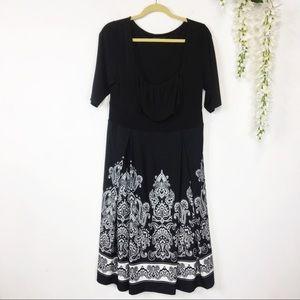 IGIGI black & white fit & flare dress paisley